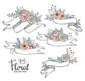 Witte hand getrokken linten met peonys en rozen Royalty-vrije Stock Foto's