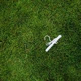 Witte hanger op een groen gazon Royalty-vrije Stock Afbeeldingen
