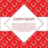 Witte harten op rood vectorkader als achtergrond en ruit voor tekst Royalty-vrije Stock Foto's