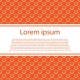 Witte harten op sinaasappel en tekststreep Royalty-vrije Stock Foto