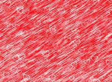 Witte hartenachtergrond op rode windachtergronden Liefdetextuur Stock Foto
