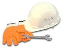 Witte helm, moersleutel en handschoen Stock Foto