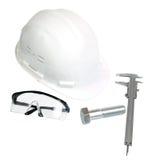 Witte helm, vernierbeugel, oog-slijtage en grote vette letters Stock Foto