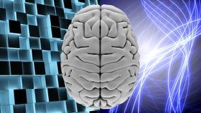 Witte hersenen met glanzende lichte lijnen en vierkanten stock illustratie