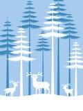 Witte Herten op pijnboom bos vectorontwerp Stock Foto