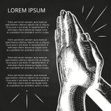 Witte het bidden handen, gebed op bijbel vector illustratie