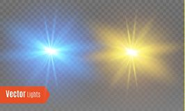 Witte het gloeien lichte uitbarstingsexplosie met transparant Vectorillustratie voor koele effect decoratie met straalfonkelingen royalty-vrije illustratie