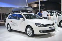 Witte het golfauto van Volkswagen Stock Afbeelding