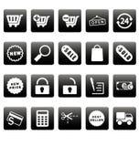 Witte het winkelen pictogrammen op zwarte vierkanten Royalty-vrije Stock Afbeeldingen