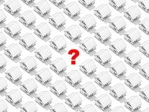 Witte huizen en vraagteken Stock Afbeeldingen