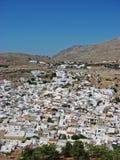 Witte huizen in Griekenland Stock Foto's