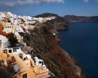 Witte Huizen van Oia Dorp, Santorini, Griekenland Stock Foto