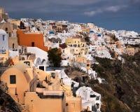 Witte Huizen van Oia Dorp, Santorini, Griekenland Stock Fotografie