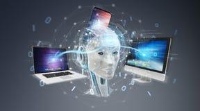 Witte humanoid die het moderne apparaten 3D teruggeven controleren royalty-vrije illustratie