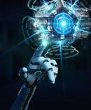 Witte humanoidhand die de camera van de hommelveiligheid het 3D teruggeven gebruiken Stock Afbeeldingen
