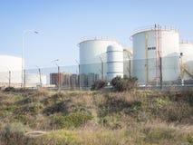 Witte industriële tanks Stock Foto