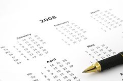 Witte jaarlijkse kalenderpagina royalty-vrije stock foto's