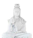 Witte jadesteen die het standbeeld van Kuan snijdt Yin Stock Afbeeldingen