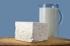 Witte kaas en melk Stock Foto's