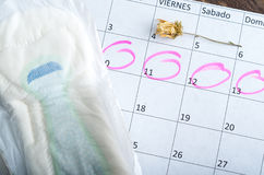 Witte kalender met roze rond cirkels Royalty-vrije Stock Foto