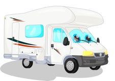 Witte kampeerauto Stock Afbeelding
