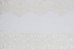 Witte kantachtergrond Royalty-vrije Stock Foto's