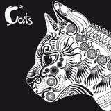 Witte kat, decoratief patroon voor een tatoegering of stencil Stock Foto