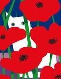Witte kat met rode bloemen Royalty-vrije Stock Afbeelding