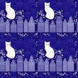 Witte kat in straat royalty-vrije illustratie