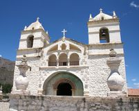 Witte kerk in de Colca-Canion Stock Foto