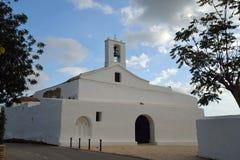 Witte kerk in Ibiza Stock Foto's