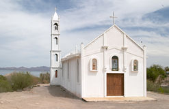Witte kerk in Mulege stock foto's