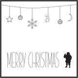 Witte Kerstkaart met zwart teksten en silhouet van Santa Claus Vector illustratie Stock Foto's