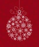 Witte Kerstmisbal van sneeuwvlokken Royalty-vrije Stock Foto's