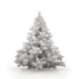 Witte Kerstmisboom die op witte achtergrond wordt geïsoleerd Stock Fotografie