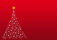 Witte Kerstmisboom op rood Stock Afbeelding