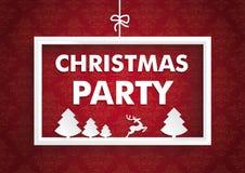 Witte Kerstmispartij van Kader Rode Ornamenten Stock Fotografie