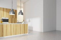 Witte keuken binnenlandse, houten countertops vector illustratie