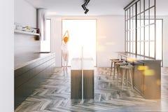 Witte keuken met grijze gestemd bar zijaanzicht Stock Afbeeldingen