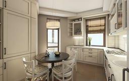 Witte Keuken met Roubd-Lijst Royalty-vrije Stock Foto