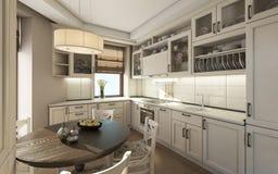 Witte Keuken met Roubd-Lijst Royalty-vrije Stock Afbeelding