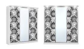 Witte Klassieke die garderobe voor dingen met decor op de spiegels, op een witte achtergrond worden geïsoleerd 3D Illustratie stock foto