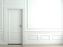 Witte klassieke muur met deur Royalty-vrije Stock Foto's