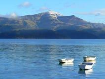 Witte kleine boten in overzeese haven Stock Foto's