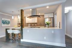 Witte kleine keuken in moderne flat stock afbeeldingen