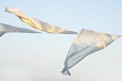 Witte kleren in de windslagen te drogen Stock Foto's