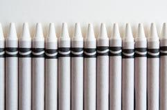 Witte Kleurpotloden Stock Foto