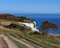 Witte klippen van Dover in Kent, Engeland, het Verenigd Koninkrijk stock foto