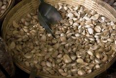 Witte knoflookstapel in mand voor verkoop bij de Aziatische markt Fres Stock Afbeelding