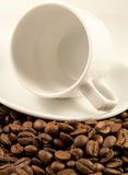 Witte koffiekop op geroosterde bonen Royalty-vrije Stock Afbeelding